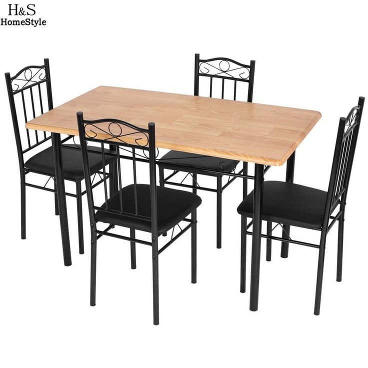 Homdox 5 Piece Kitchen Dining Set Living room Chair MDF Rectangle Dining Table with 4pcs Chair Furniture N30*