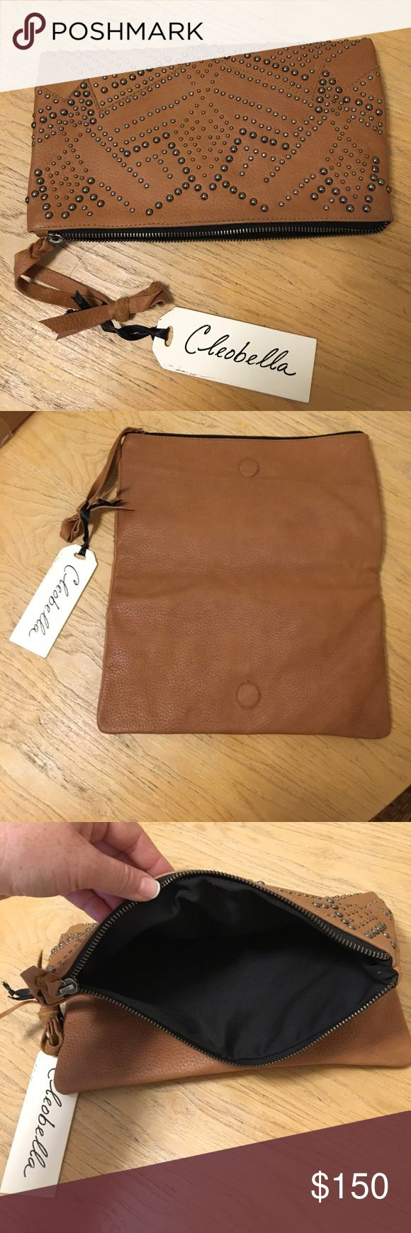 NWT CLEOBELLA studded camel clutch NWT CLEOBELLA studded camel fold over clutch, brand new with a zipper. Super edgy and chic. Love love love this clutch! Cleobella Bags Clutches & Wristlets