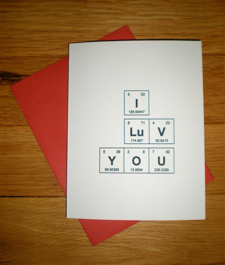 """Valentine's Day Periodic Table of the Elements """"I Luv You"""". $3.00, via Etsy."""