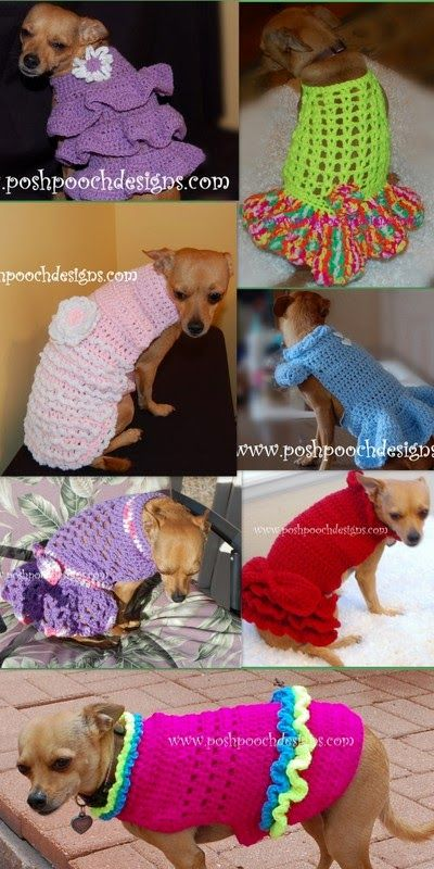 Posh Pooch Designs Dog Clothes: Dog Sweater Crochet patterns For Medium to Large Dogs