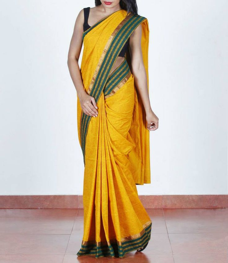 Bright mustard, block-printed, #handloomsaree, Shop at http://bit.ly/1Bw9nsm