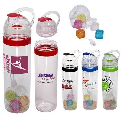 Custom Tritan Traveler Water Bottle & Ice Cubes Set Item #PL-8159 (Min Qty: 13). Decorate your Promotional Water Bottles with your business logo and with no setup fees.