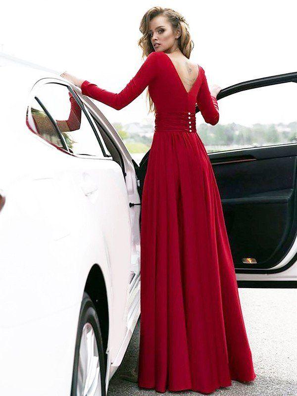 00541bf1ac29 A-Line/Princess V-neck Floor-Length Ruffles Satin Dresses - Prom Dresses -  Hebeos Online