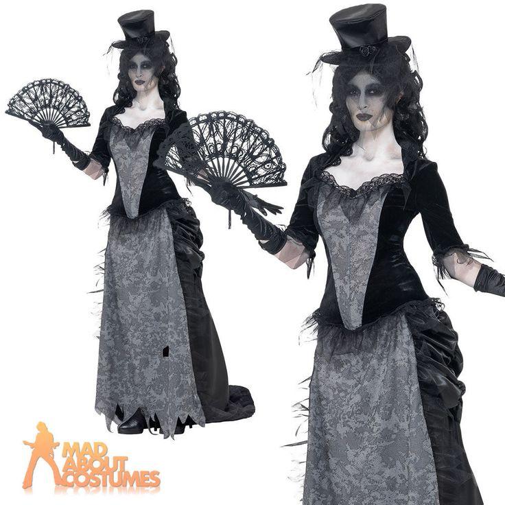Ghost Town Black Widow Costume Adult Zombie Corpse Bride Fancy Dress Ladies 8-18