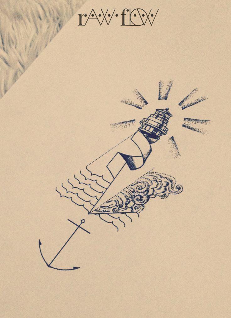 Forearm minimal anchor tattoo lighthouse