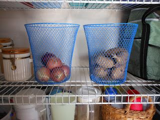 Dollar Bin baskets to store potatoes and onions. Pantry organization ideas.
