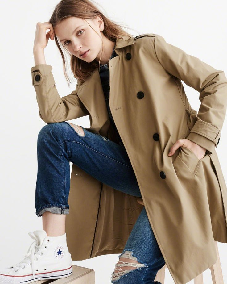 everyday casual; white converse; distressed denim; khaki trench coat <A&F Classic Trench Coat in khaki>