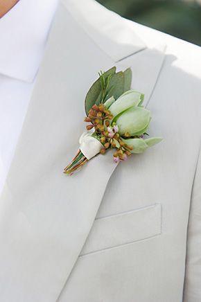 Succulent boutonniere #FloridaWedding   Photo By: http://puresugarstudios.com