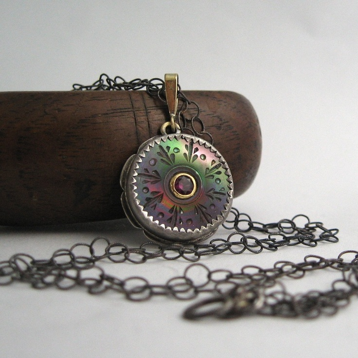 antique button, grape garnet, sterling and 18k pendant by Quench Metalworks