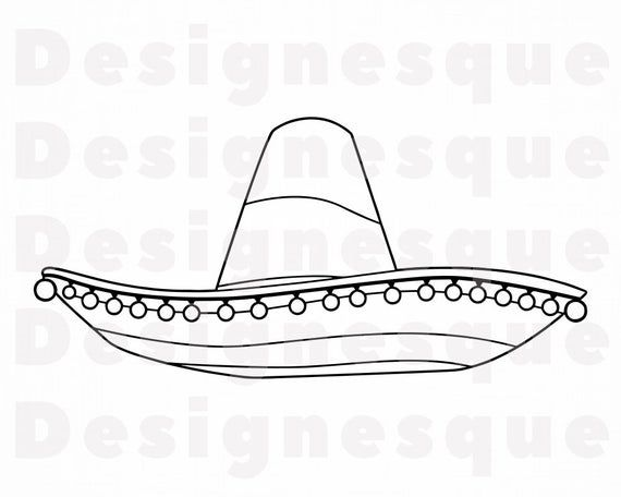 Sombrero Outline 6 Svg Sombrero Svg Hat Sombrero Clipart Etsy Svg Clip Art Dxf