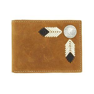 Nocona Bi-Fold Genuine Leather Western Mens Wallet w/Buffalo Concho-Brown N5434444