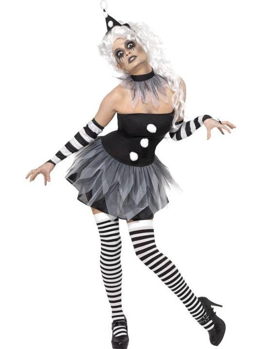 Pierrot Clown-Kostüm - . - Verkleide dich als psychopathischer sexy Pierrot-Clown!