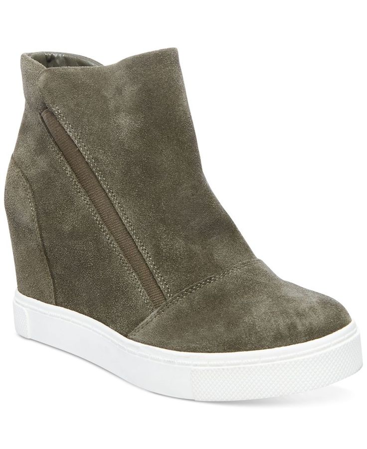 Steve Madden's Lazaruss sneakers are the best in urban-chic, finished with a hidden wedge for sleek lift. | Suede upper; manmade sole | Imported | Round closed-toe sneakers with elastic gores at sides
