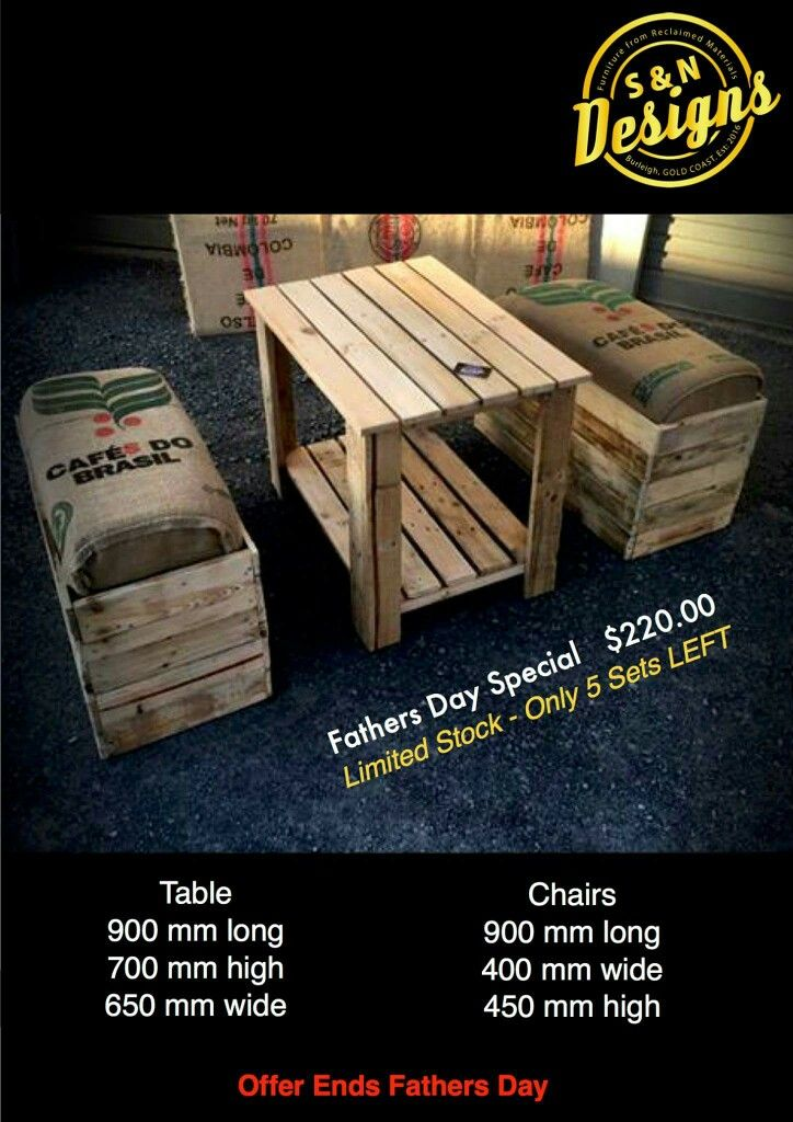 Fathers Day Special/$220.00  Limited Stock - Only 5 Sets LEFT  Table 900 mm long 700 mm high 650 mm wide  Chairs 900 mm long 400 mm wide 450 mm high  Offer Ends Fathers Day