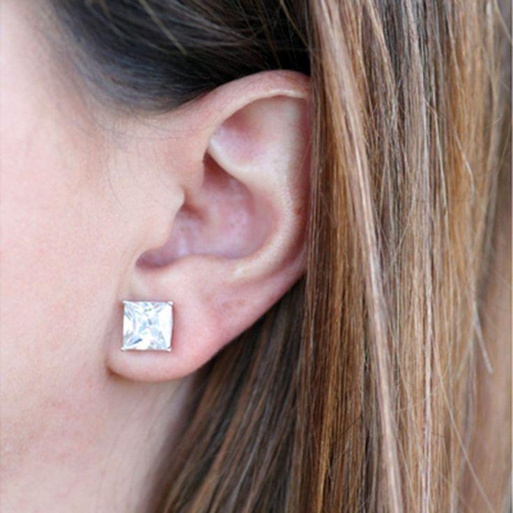 2.00 Ct Princess Diamond Earring 14k White Gold Diamond Earrings Studs 46#78 #ForeverCarat #Stud