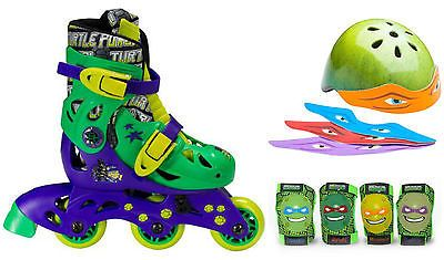 Teenage Ninja Mutant Turtles Roller 2 in 1 Inline Skates Knee Elbow Pads Helmet
