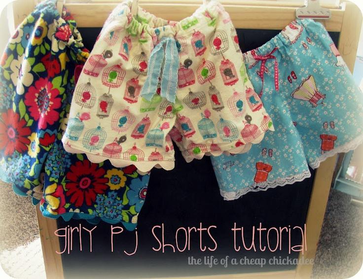 The Life of a Cheap ChickadeeLittle Girls, Cheap Chickadee, Shorts Tutorials, Sewing Projects, Ric Rac, Girly Pj, Ricrac, Pj Shorts, Girls Sewing