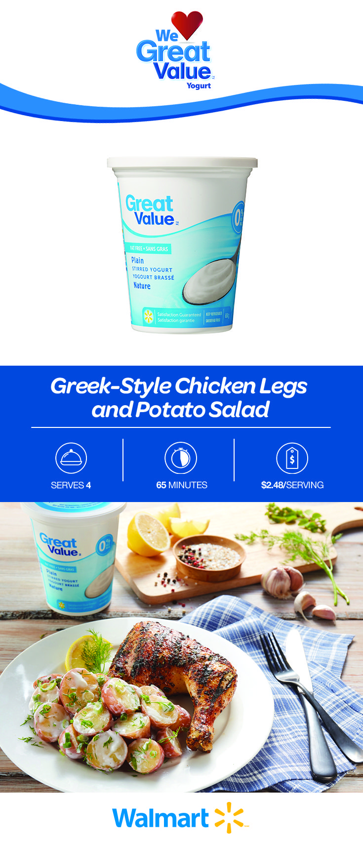 Weeknight cooking needs to be low-maintenance, so why not try these Greek-style chicken legs with creamy potato salad. The secret is our Great Value Yogurt! Only $2.48 per serving. Find this affordable recipe by clicking the link! #greekcuisine #chickenlegs #chickenrecipes #potatosalad #potatosaladrecipes #dinnerrecipes #easydinners #affordabledinnerrecipes