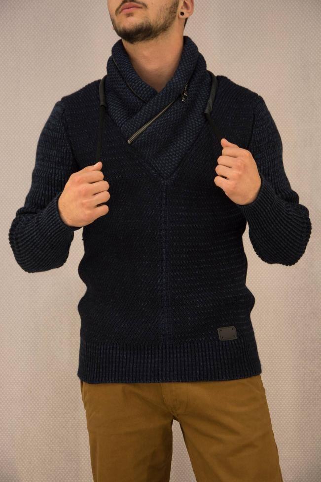 Ανδρικό πουλόβερ με φερμουάρ  PLEK-2698 Πλεκτά > Πλεκτά και ζακέτες
