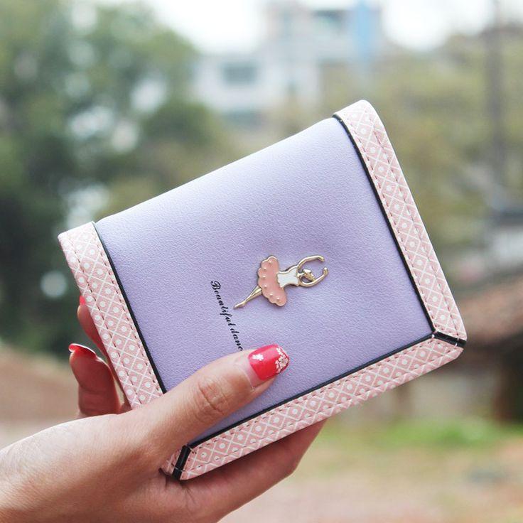 DUDINI Fashion Dancing Girl Leather Women Wallets Polka Dot Splicing Zipper Short Wallet Ladies Clutches Coin Purse Card Holder