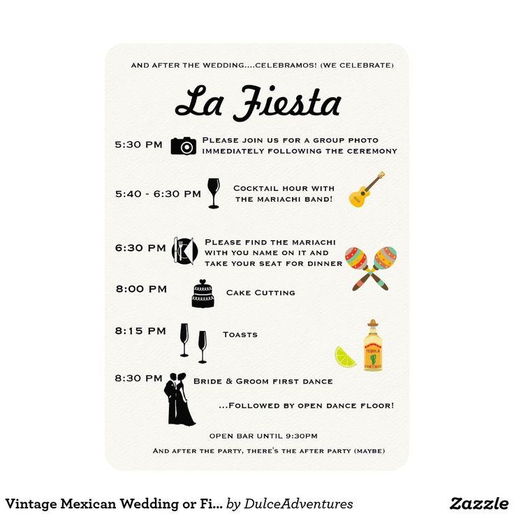 ヴィンテージのメキシコ結婚式またはフェスタプログラムタイムライン 12.7 X 17.8 インビテーションカード