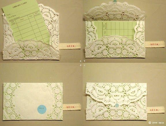 Bridal shower invites.: Diy'S Doilie, Paper Doilies, Diy'S Crafts, Card, Crafts Idea, Doilies Invitations, Doily Envelopes, Paper Crafts, Doilies Envelopes