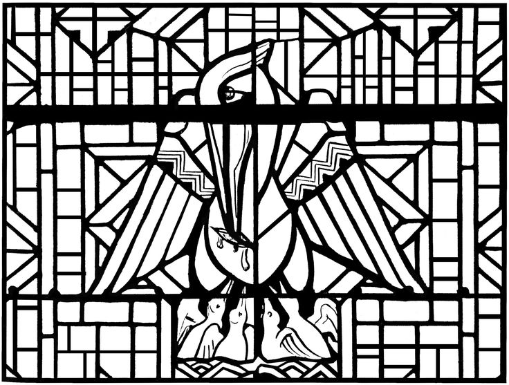 Free coloring page coloring-adult-stained-glass-pelican-church-arthon-en-retz-france-20th-complex-version. Coloring page made from a modern Stained glass representing a pelican. Church of Arthon en Retz, in France - Complex version