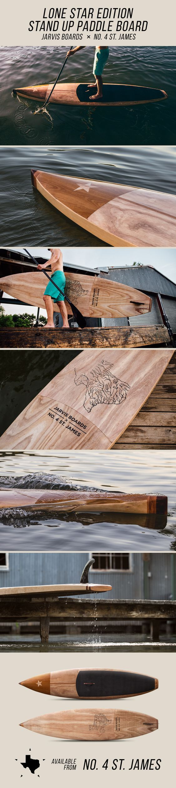 The Lone Star Edition Stand Up Paddle Board, an exclusive collaboration between handmade wooden board brand Jarvis Boards, and the premiere Texas lifestyle and products brand, No. 4 St. James.:
