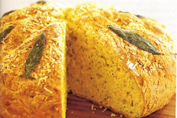 Low-fat pumpkin damper with parmesan & sage