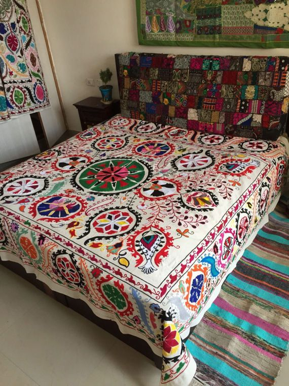 Red double bed cover Suzani beadspread hand embroidery bed