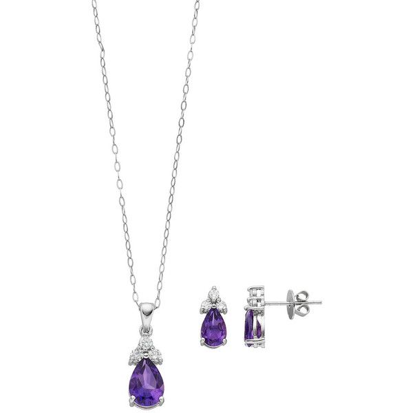 Sterling Silver African Amethyst & Cubic Zirconia Jewelry Set ($90) ❤ liked on Polyvore featuring jewelry, purple, amethyst jewelry, pendant necklaces, cz jewelry, chain pendant necklace and sterling silver pendants