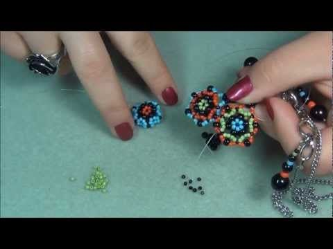 Sun Burst beaded Charm, Pendant and Earring (click through to watch on you tube) ~ Seed Bead Tutorials