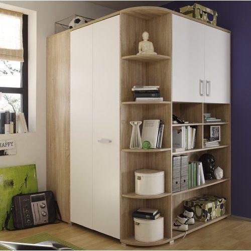 brayden studio petrin 1 door sliding corner wardrobe