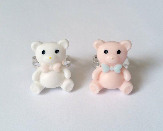 Pink & White Teddy Bear Rings  Kawaii Ring Fairy Kei Ring