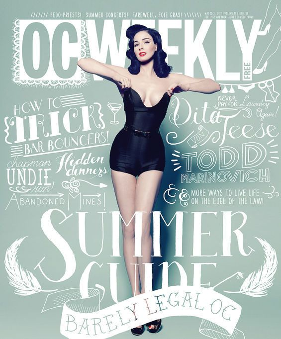 OC Weekly Dita Von Teese Hand Lettered Type