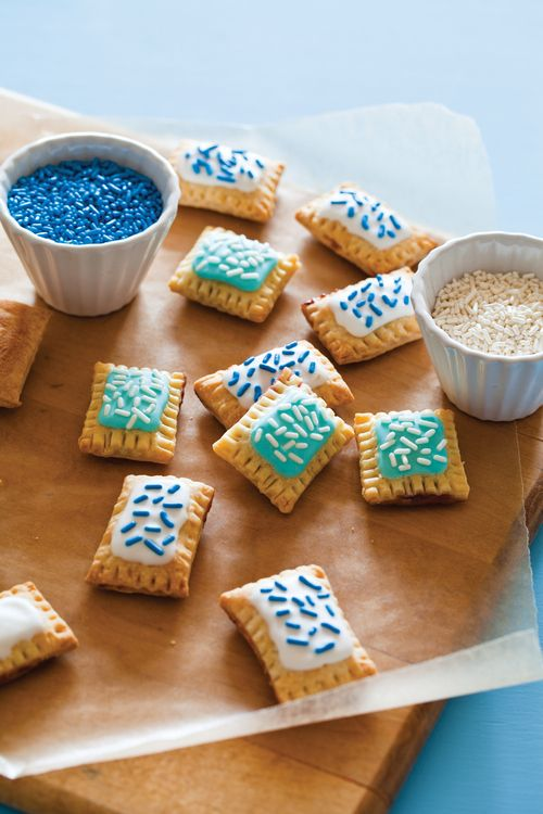 Mini Pop Tarts- Pillsbury pie crust, jam or preservatives or custurd , bake then top with frosting and sprinkles
