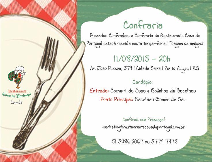 Convite Confraria: Venha saborear um delicioso Bacalhau Gomes de Sá - É hoje: 11/08 - 20h #portoalegre #RS #POA #porto #riograndedosul
