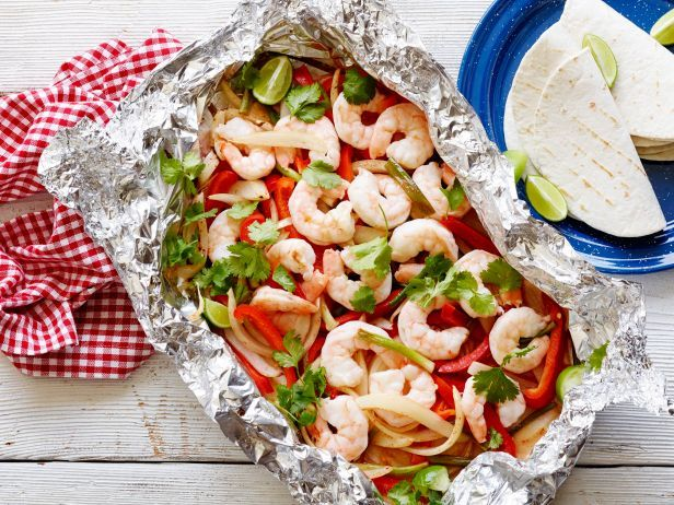 Recipe of the Day: Grilled Foil-Pack Shrimp Fajitas With handy foil packs on your side, you can grill mess-free, lightened-up shrimp fajitas with Tex-Mex flavor that's sealed right in. Trust us, the only thing you'll miss is the restaurant sizzle sound.