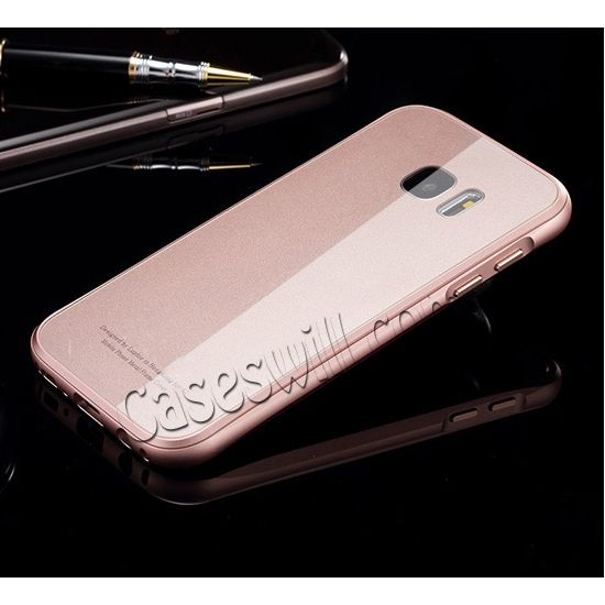 Premium Aluminum Alloy Frame + Tempered Glass Back Case for Samsung Galaxy S7 - Rose Gold US$28.29