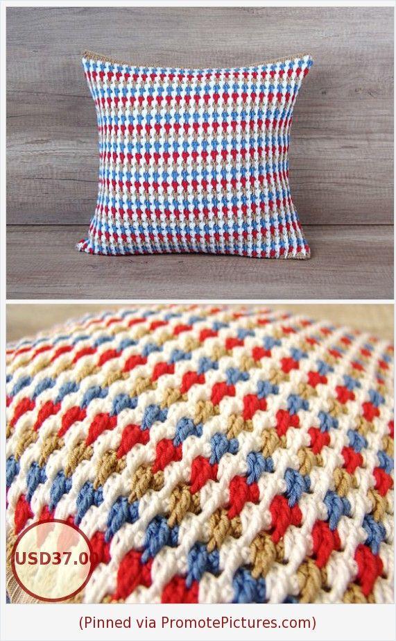 Stripped Crochet Hand Knit Cushion Modern Textured Crochet Pillow