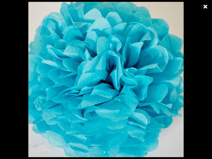 5 of them bright turquoise blue paper flowers have been ordered - 1 large, 2 medium and 2 smaller ones.