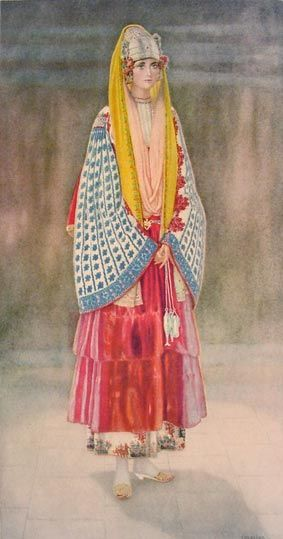 NICOLAS SPERLING Bridal Dress (Dodecanese, Astypalaia) 1930  lithograph on paper after original watercolour (37x20)