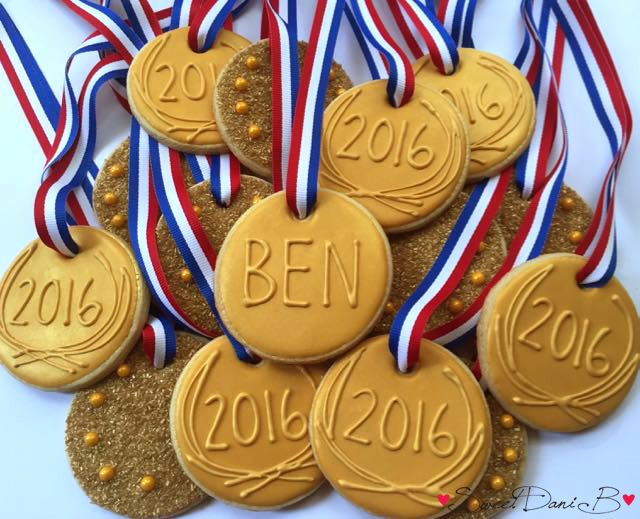 Olympic Birthday Party Gold Medal Cookies by SweetDaniB