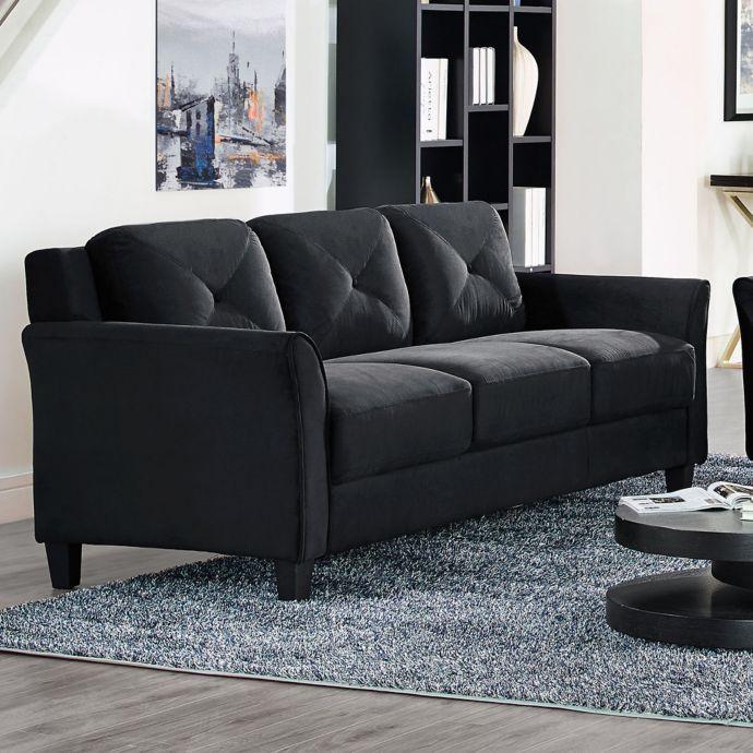 92 Inch Black Microfiber Sofa Microfiber Sofa Upholstered Sofa