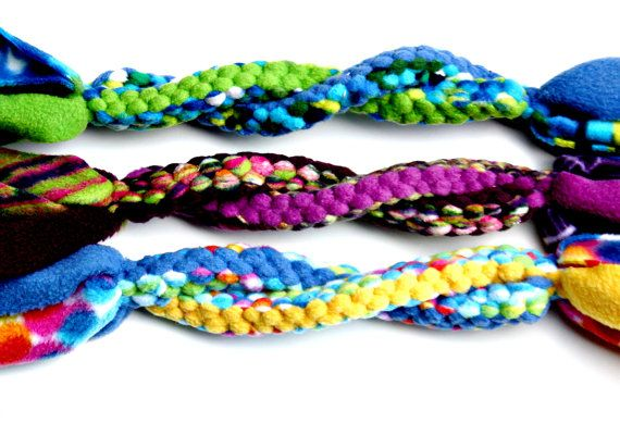 Braided Fleece Tug Toy Colorful Twisted Dog by aDOGableEssentials
