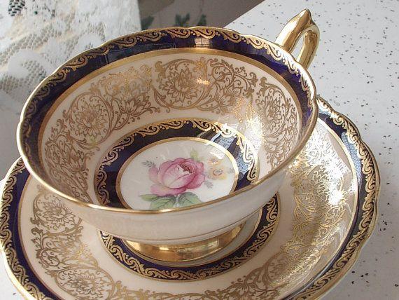 Antique Paragon pink rose tea cup and saucer, 1950's blue and gold tea cup set, English tea set, bone china tea cup, wedding gift