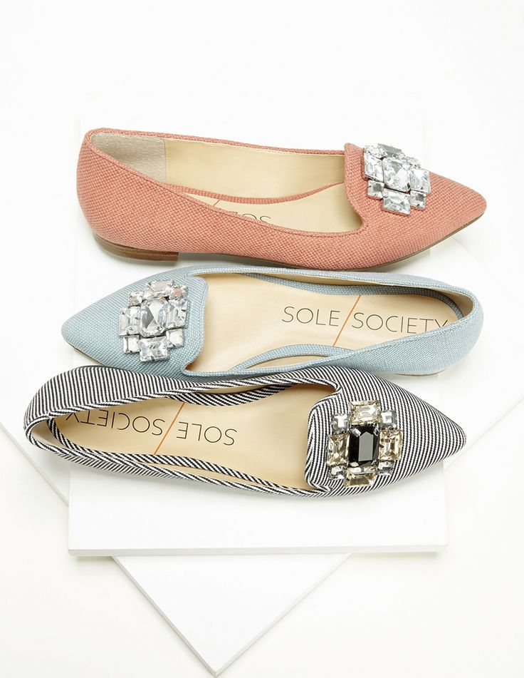 Dressy yet casual bejeweled smoking slippers finished with sparkling crystals at the front toe