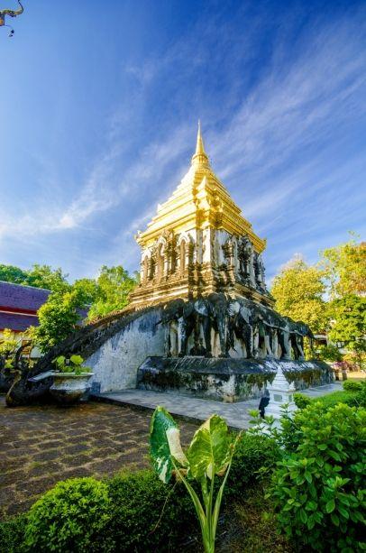 Templo de Wat Chiang Man, es el más antiguo de Chiang Mai. Tailandia.