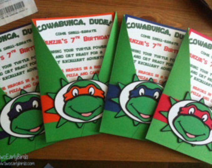 Teenage Mutant Ninja tortugas inspiración invitaciones de cumpleaños