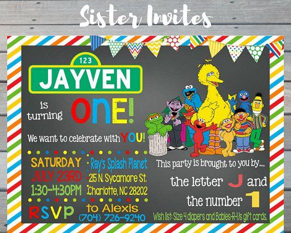 Sesame Street Invitation, Elmo Invitation, Sesame Street Birthday Invitation, Elmo Birthday Invitation, Digital Elmo Invitation